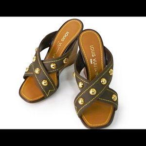 Louis Vuitton Brown Canvas Mule Sandals